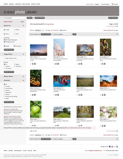 Science Photo Library search interface